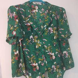 Lush Green Floral Button down Blouse Size XLarge
